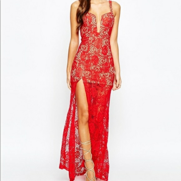 ASOS Love Triangle Red Deep V Floor Length Dress